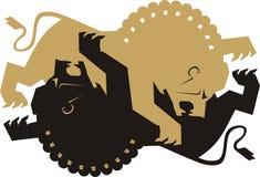 De strijd van de leeuw   Stock Foto's