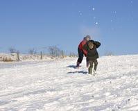 De strijd van de sneeuwbal royalty-vrije stock foto