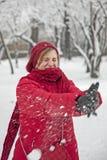 De strijd van de sneeuwbal Stock Afbeelding