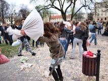 De Strijd van het hoofdkussen Dag 2012, Lublin, Polen stock afbeelding