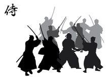 De Strijd van samoeraien Stock Illustratie