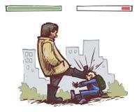 De strijd van de schooljongen vector illustratie