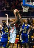 De strijd voor de ball.EuroLeague Vrouwen 2009-2010. Royalty-vrije Stock Afbeelding