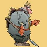 De strijder van de beeldverhaal fairytale mens met spear en schild stock illustratie