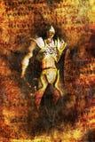 De strijder van de fantasie het schilderen Stock Afbeeldingen
