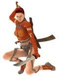 De strijder van de vrouw met zwaarden Royalty-vrije Stock Afbeeldingen