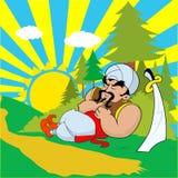 De strijder van Janissary met een zwaardslaap Stock Afbeelding
