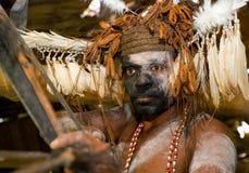 De strijder van Portretasmat met het traditionele schilderen en het kleuren op een gezicht Stock Foto's