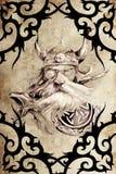 De strijder van Viking die met stammenkunstwerken wordt verfraaid Royalty-vrije Stock Fotografie