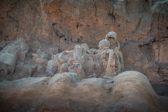 De strijders en de paarden van het terracotta Stock Fotografie