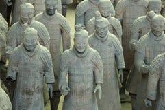 De strijders en de paarden van het terracotta Stock Afbeeldingen