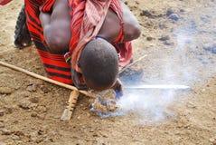 De strijders van Maasai stock foto's