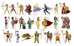 De strijdersmens van de vechtersridder en vrouwelijke krachtige karakters stock illustratie