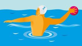De striker in het spel van waterpolo gaat de bal werpen Stock Foto's