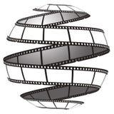 De strook van de film in een gebied/een bol Stock Foto