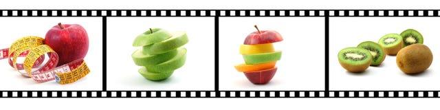 De strook van de film met fruitinzameling Stock Fotografie