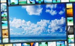 De strook van de film met mooie vakantiebeelden Stock Afbeeldingen