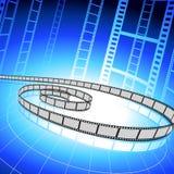 De strook van de film op blauwe achtergrond Royalty-vrije Stock Foto