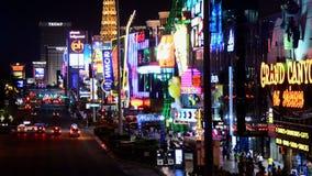 De strook van Las Vegas bij nacht stock footage