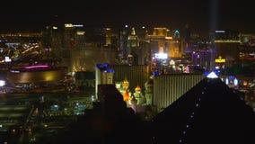 De Strook van Vegas van Las bij nacht stock footage