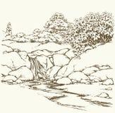 De stroom van de berg Vector tekening Stock Afbeeldingen