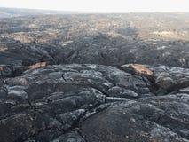 """De stroom van de Kalapanalava van vulkaan in oceaan bij KÄ """"lauea Groot Eiland Hawaï Stock Foto"""
