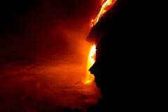 De stroom van de lava bij nacht Stock Fotografie