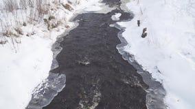 De stroom van het rivierwater onder sneeuw en ijs stock videobeelden