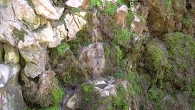 De stroom van vers koud die water van de de lentedalingen door oude stenen worden omringd stock video
