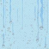 De stroom van waterdruppeltjes onderaan blauwe transparant vector illustratie
