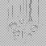 De stroom van waterdruppeltjes onderaan grijze transparant stock illustratie