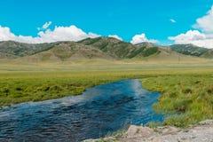 De stroomlandschap van de bergrivier De berglandschap van de rivierstroom stock foto