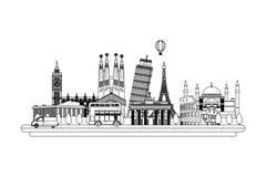 De structurenontwerp van lijnlanden en aardige cityscape stock illustratie