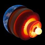 De structuur van de aardekern aan geïsoleerde schaal -
