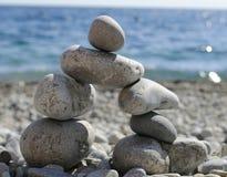 De structuur van de stenen op het strand Royalty-vrije Stock Foto's