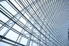 De structuur van het staal en glasdak Stock Foto
