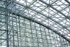 De structuur van het staal en van het glas Stock Foto