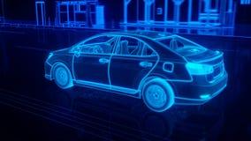 De structuuroverzicht van de stadsauto in draadstijl Royalty-vrije Stock Fotografie