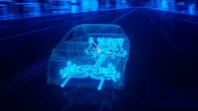 De structuuroverzicht van de stadsauto in draadstijl Stock Afbeelding