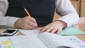 De student beslist de taak in het voorbeeldenboek stock videobeelden