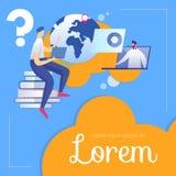 De student Sitting op Boeken luistert Leraar op Laptop vector illustratie