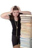 De student tijdens voorbereiding voor onderzoeken Stock Foto