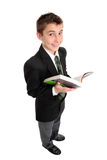 De student van de middelbare school met handboek stock foto's