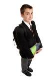 De student van de school met boeken en rugzak stock afbeelding