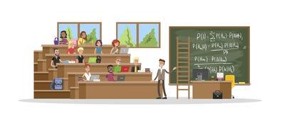 De studenten bestuderen op de universiteit stock illustratie