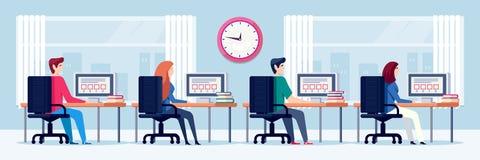 De studenten gaan examentest, vectorillustratie over Online onderwijs en het leren concept Mensen die computers in kabinet met be royalty-vrije illustratie