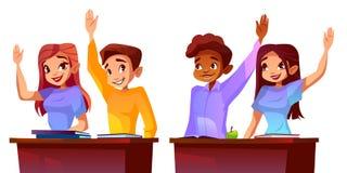 De studenten heffen handen vectorillustratie op stock illustratie