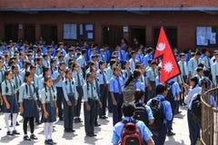 De studenten in Nepal Stock Afbeeldingen