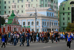 De studenten paraderen in Moskou Royalty-vrije Stock Afbeeldingen