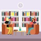 De studenten treffen voor examens in bibliotheek voorbereidingen De lezingsboeken van de jongen en van het meisje stock illustratie